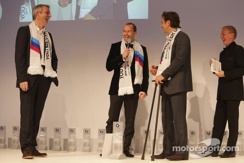 Thomas Biagi, Alex Zanardi en Head of BMW Sport Jens Marquardt