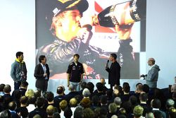 Sebastian Vettel and Mark Webber, Red Bull Racing on stage with David Coulthard, Adrian Newey and Ch