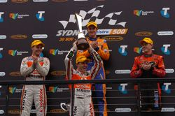 Podium: race winner Will Davison, second place Craig Lowndes, third place James Courtney with champion Jamie Whincup