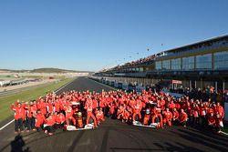 Felipe Massa and Fernando Alonso, Scuderia Ferrari with team members
