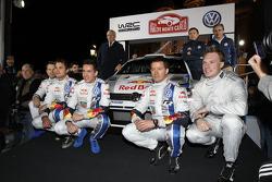 Andreas Mikkelsen, Jari-Matti Latvala, Miikka Anttila, Sébastien Ogier et Julien Ingrassia