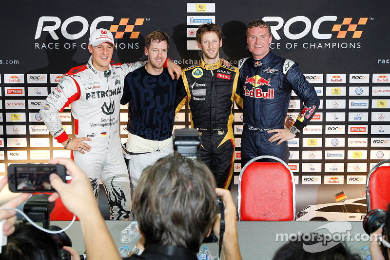 Michael Schumacher, Sebastian Vettel, Romain Grosjean y David Coulthard