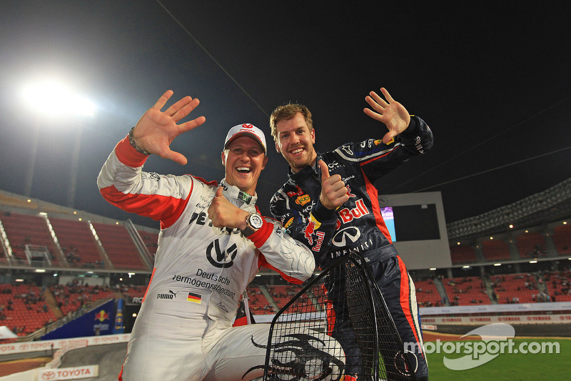 Les vainqueurs Sebastian Vettel et Michael Schumacher