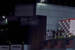 Podium: winnaars Syafiq Ali, Morio Nitta, 2de James Veerappan, Masedenial Ali