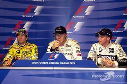 Conférence de presse : le poleman Mika Hakkinen, le second Jarno Trulli, le troisième Jenson Button