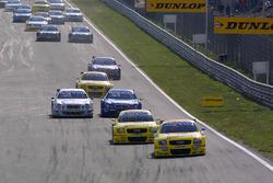 Start action, Christian Abt, leads Mattias Ekstrom, Abt Audi TT-R