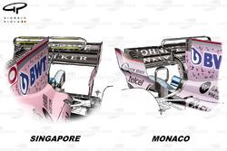 Force India VJM10 T-wing comparison, Monaco GP vs Singapore GP