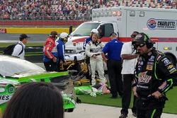 Injured Kyle Busch, Joe Gibbs Racing Toyota after the race