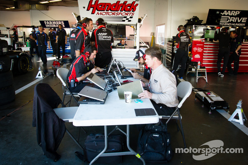 Hendrick Motorsports technicians at work