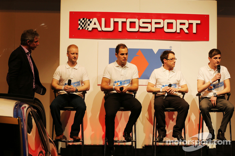 Jason Plato, with Stefan Hodgetts; Luke Herbert; Rob Boston and Sam Tordoff on the Autosport Stage
