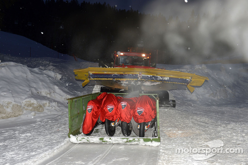 Ducati bikes are delivered in the snow