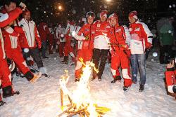 Andrea Dovizioso and Nicky Hayden, Ducati Marlboro Team and Fernando Alonso and Felipe Massa, Scuder