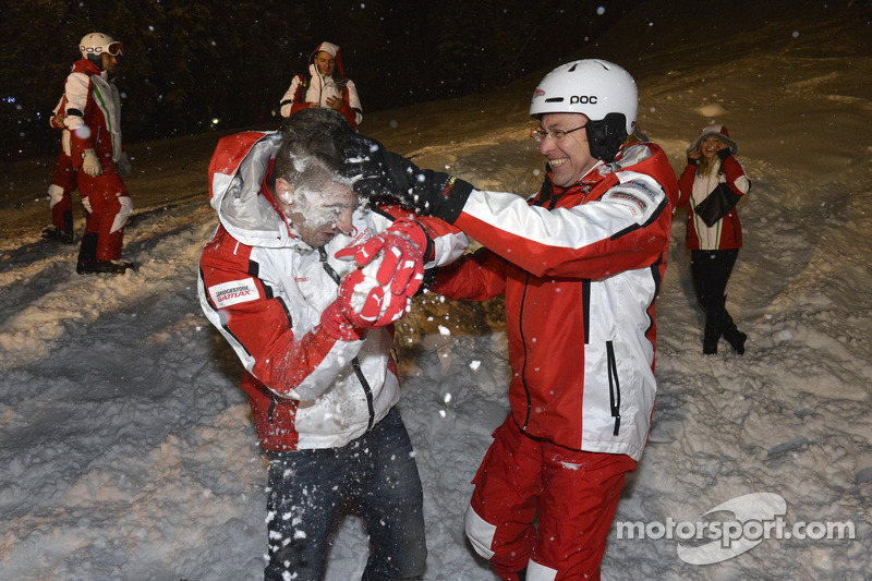 Andrea Iannone, Pramac Racing Team krijgt zijn gezicht vol sneeuw