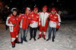 Andrea Dovizioso and Nicky Hayden, Ducati Marlboro Team, Fernando Alonso y Felipe Massa, Scuderia Ferrari with Stefano Domenicali