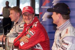 Post-race press conference: Michael Schumacher, Mika Hakkinen, David Coulthard