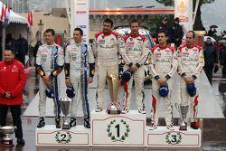 Podium: winners Sébastien Loeb and Daniel Elena, Citroën Total Abu Dhabi World Rally Team, second pl