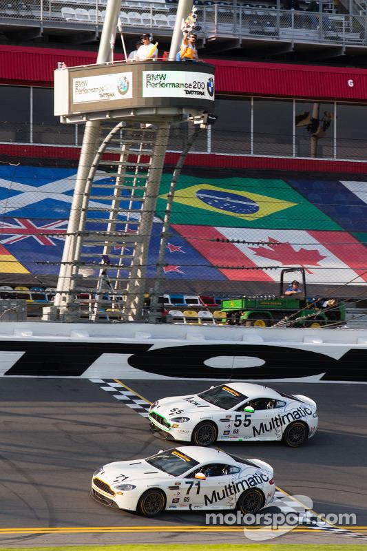 #71 Multimatic Motorsports Aston Martin Vantage: Tonis Kasemets, Michael Marsal and #55 Multimatic Motorsports Aston Martin Vantage: Jade Buford, Scott Maxwell take the checkered flag