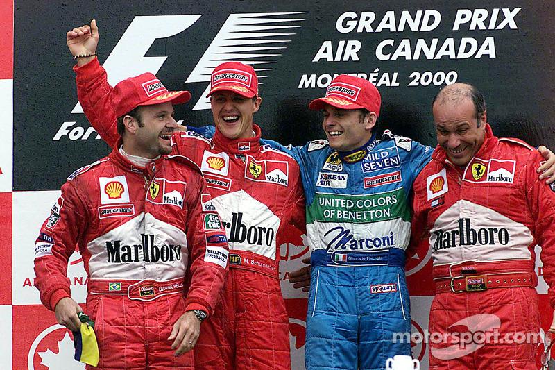 2000: 1. Michael Schumacher, 2. Rubens Barrichello, 3. Giancarlo Fisichella