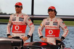 Jenson Button, McLaren ve Sergio Perez, McLaren unveil yeni McLaren MP4-28