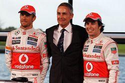 Jenson Button, McLaren, Martin Whitmarsh, McLaren Şef Sorumlusu ve Sergio Perez, McLaren unveil yeni