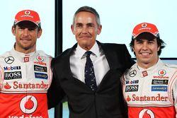 Jenson Button, McLaren ve Martin Whitmarsh, McLaren Şef Sorumlusu ve Sergio Perez, McLaren