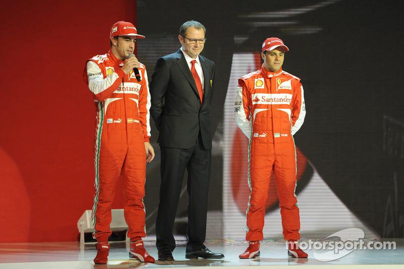 Stefano Domenicali, Felipe Massa und Fernando Alonso mit dem Ferrari F138