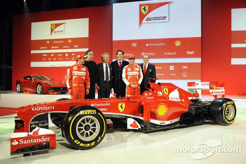 Felipe Massa, Sergio Marchionne, Luca di Montezemolo, John Elkann, Fernando Alonso ve Stefano Domeni