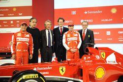 Felipe Massa, Sergio Marchionne, Luca di Montezemolo, John Elkann, Fernando Alonso and Stefano Domenicali