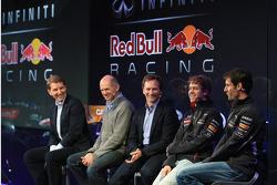 Christian Horner, Adrian Newey, Mark Webber and Sebastian Vettel