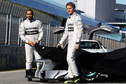 Lewis Hamilton, Mercedes AMG F1 and team mate Nico Rosberg, Mercedes AMG F1 unveil the new Mercedes