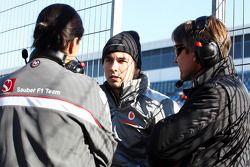 Monisha Kaltenborn, Directora de equipo Sauber y Sergio Pérez, McLaren con Tony Fernandes, Caterham