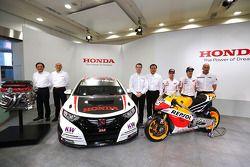 Tiago Monteiro avec Honda Civic, Marc Marquez et Dani Pedrosa, Repsol Honda MotoGP