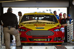 Car of Joey Logano, Penske Racing Ford at technical inspection