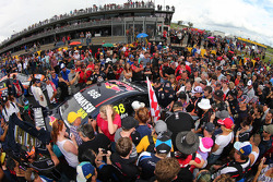 Fans look at the car of Craig Lowndes, Red Bull Holden