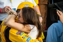 Victory lane: race winner Kyle Busch, Joe Gibbs Racing Toyota celebrates with his wife
