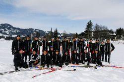 Pilotos esquiando