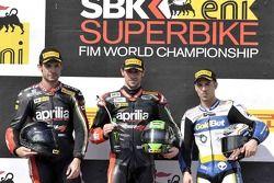 Race 2 Podium: winnaar Eugene Laverty, 2e plaats Sylvain Guintoli, 3e plaats Marco Melandri