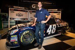 2013 Daytona 500 winner Jimmie Johnson, Hendrick Motorsports Chevrolet, poses with his car