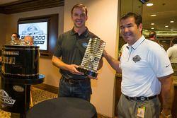Chad Knaus accepts the 2013 Daytona 500 winning trophy from Daytona International Speedway President Joie Chitwood