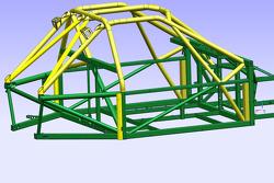 Desenho técnico da estrutura de segurança do Wayne Taylor Racing Corvette DP