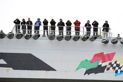 Spotters take their places on the roof