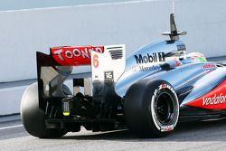 Sergio Perez, McLaren MP4-28 achtervleugel en diffuser