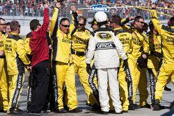 The Joe Gibbs Racing crew celebrates Matt Kenseth's win
