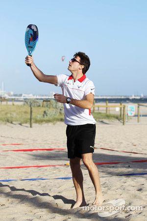 Jules Bianchi, Marussia F1 Team plays beach tennis