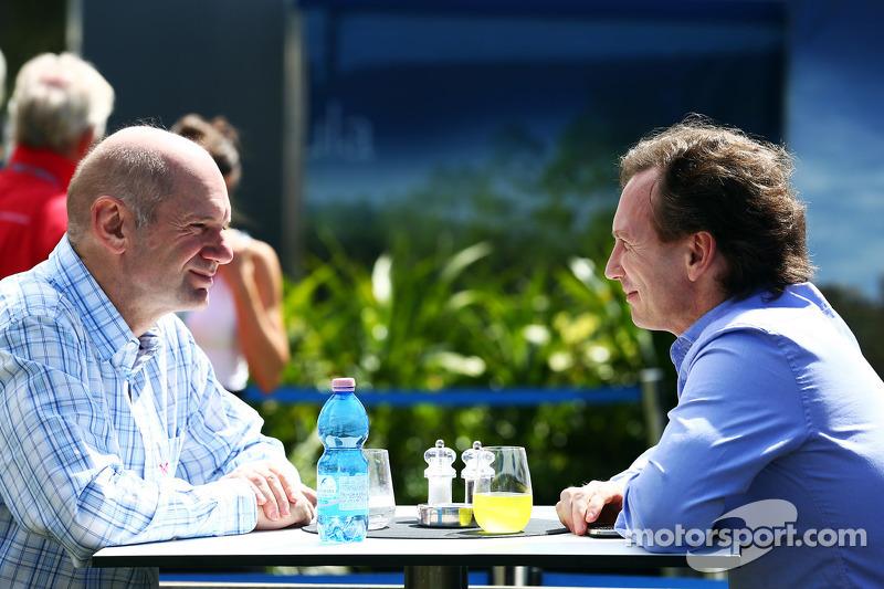 Adrian Newey, Red Bull Racing Chief Technical Officer met Christian Horner, Teambaas Red Bull Racing