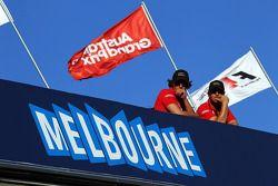 Fans above the Melbourne sign