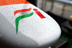 Sahara Force India F1 VJM06 nosecone covered rain drops