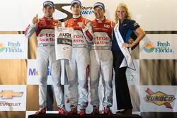 Class winners podium: P1 and overall winners Oliver Jarvis, Marcel Fässler, Benoit Tréluyer celebrate