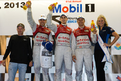 Class winners podium: P1 and overall winners Oliver Jarvis, Marcel Fässler, Benoit Tréluyer celebrate