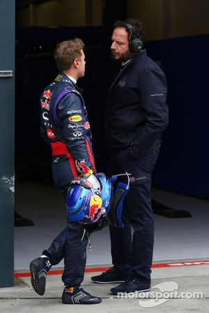 Pole sitter Sebastian Vettel, Red Bull Racing with Matteo Bonciani, FIA Media Delegate